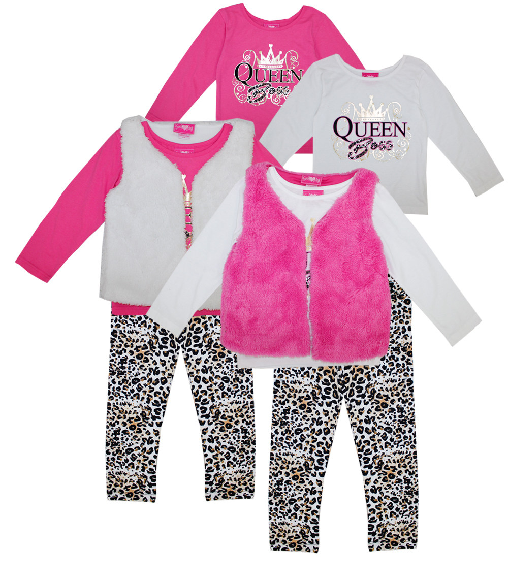 GIRLS PINK Toddler Queen Boss 3 Pc Set w Fur Vest