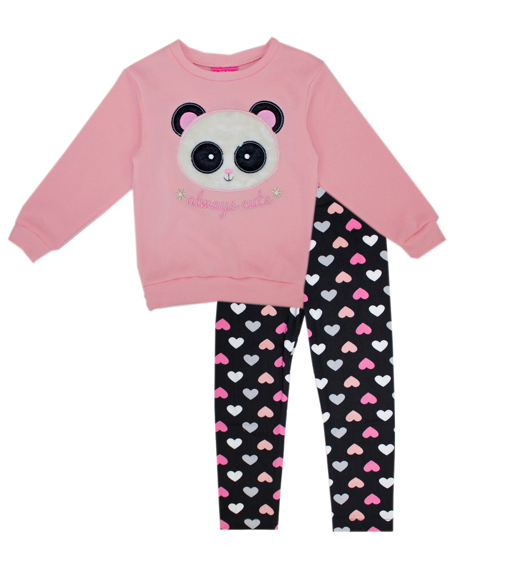 GIRLS PINK Infant Girls Panda Applique Legging Set