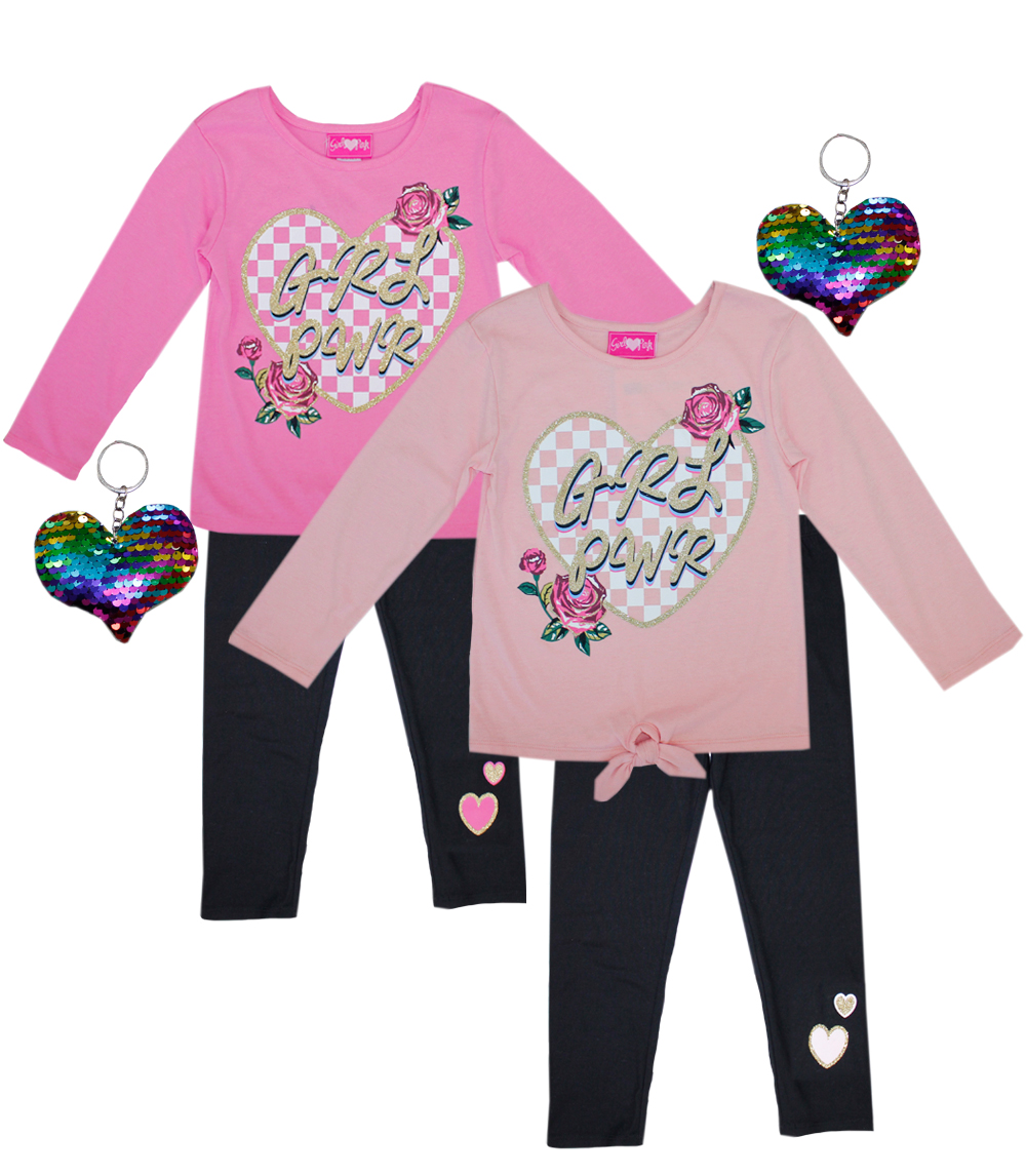 GIRLS PINK 7-16 Heart Screen Top and Legging