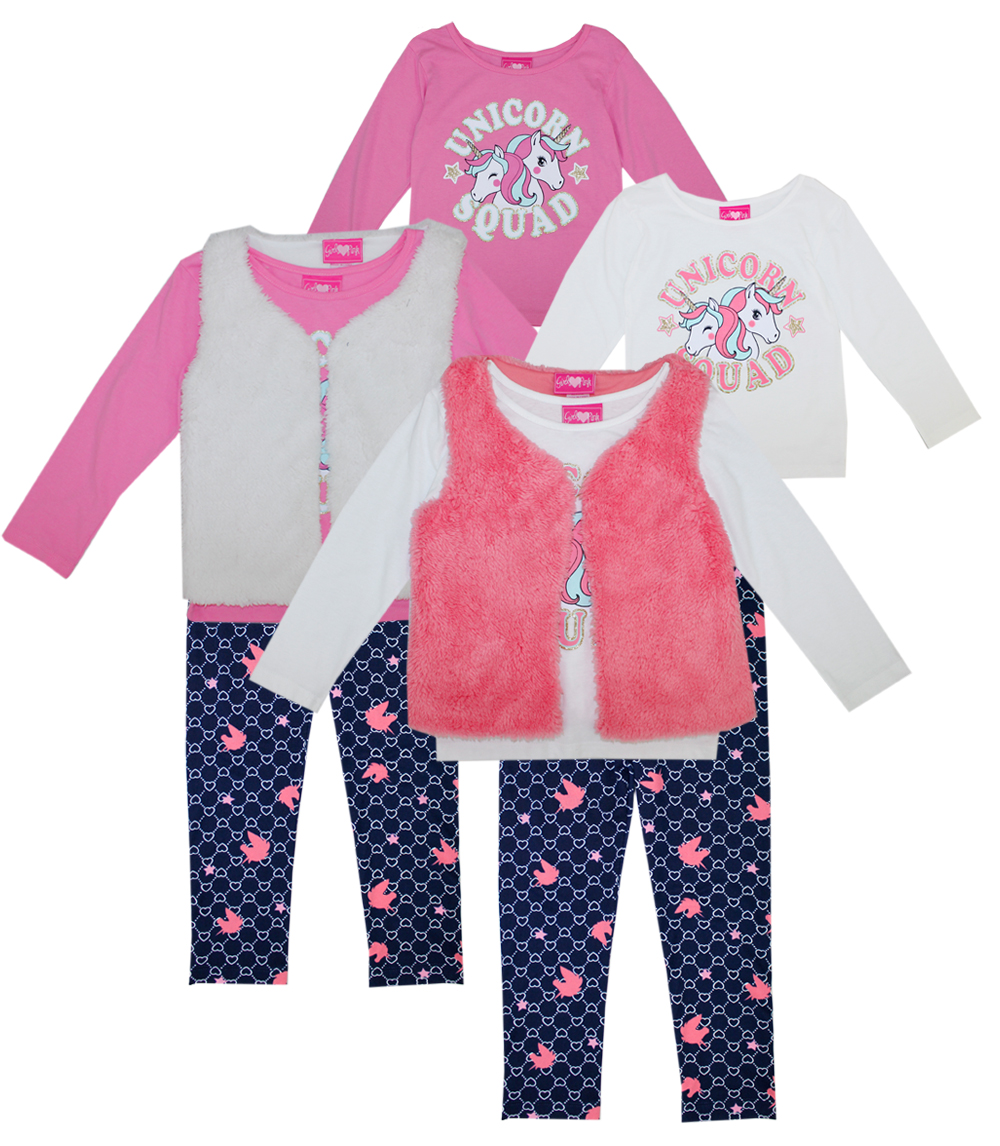 GIRLS PINK Toddler Unicorn Squad 3 Pc Set w Fur Vest