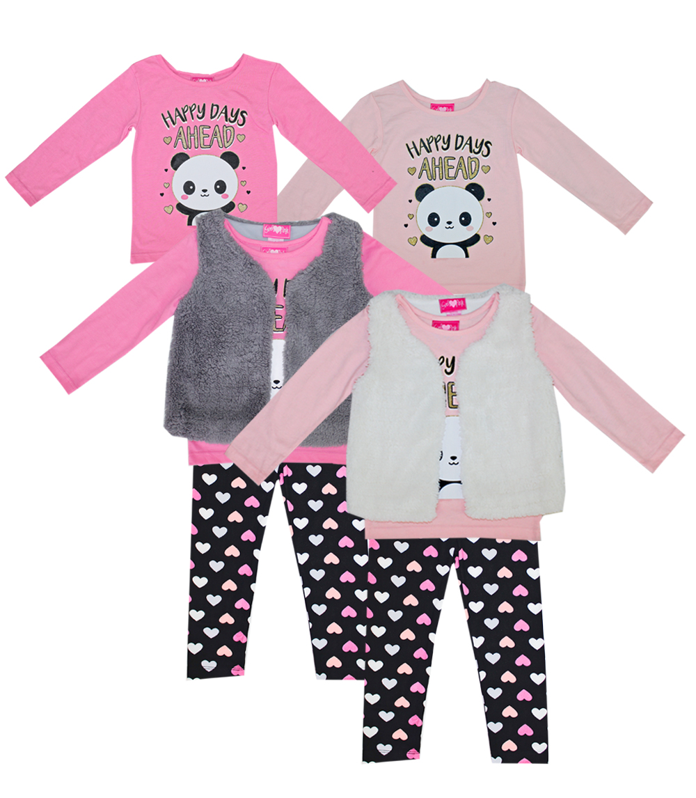 GIRLS PINK 7-16 3 Pc Happy Panda Set W Soft Fuzzy Vest