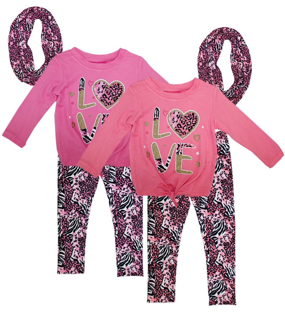 GIRLS PINK 4-6X Girls Love Print Haci Scarf Set