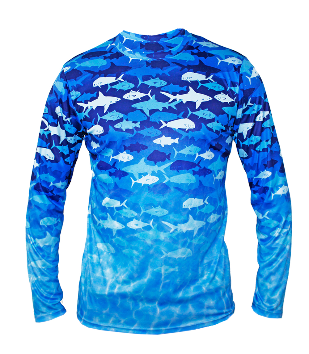 Performance L/S Crew Neck w Printed Fish