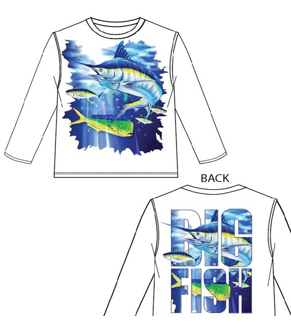 Performance L/S Crew Neck Fish Graphic