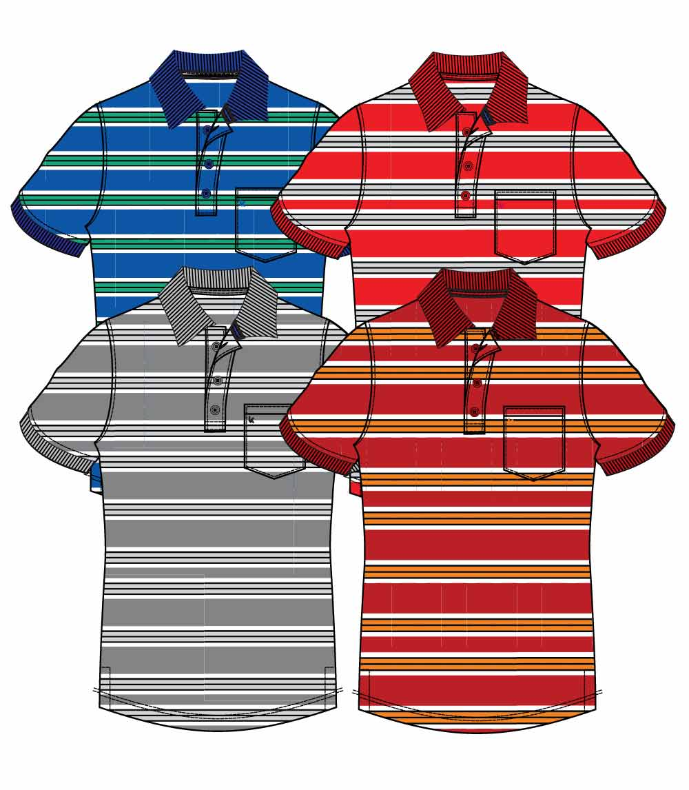 Men Stripe Polo S-XL