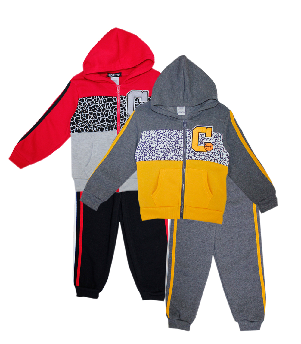 S1OPE 4-7 Boys Zip Up 2 Pc Fleece Set