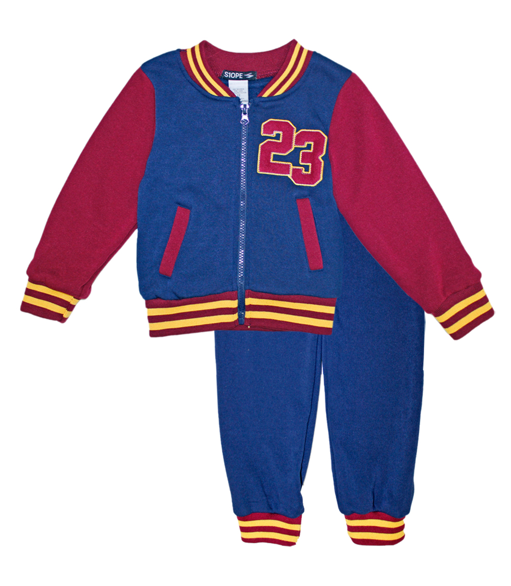S1OPE Toddler 2 pc Zip Up 23 Varsity Jacket and Pant Set