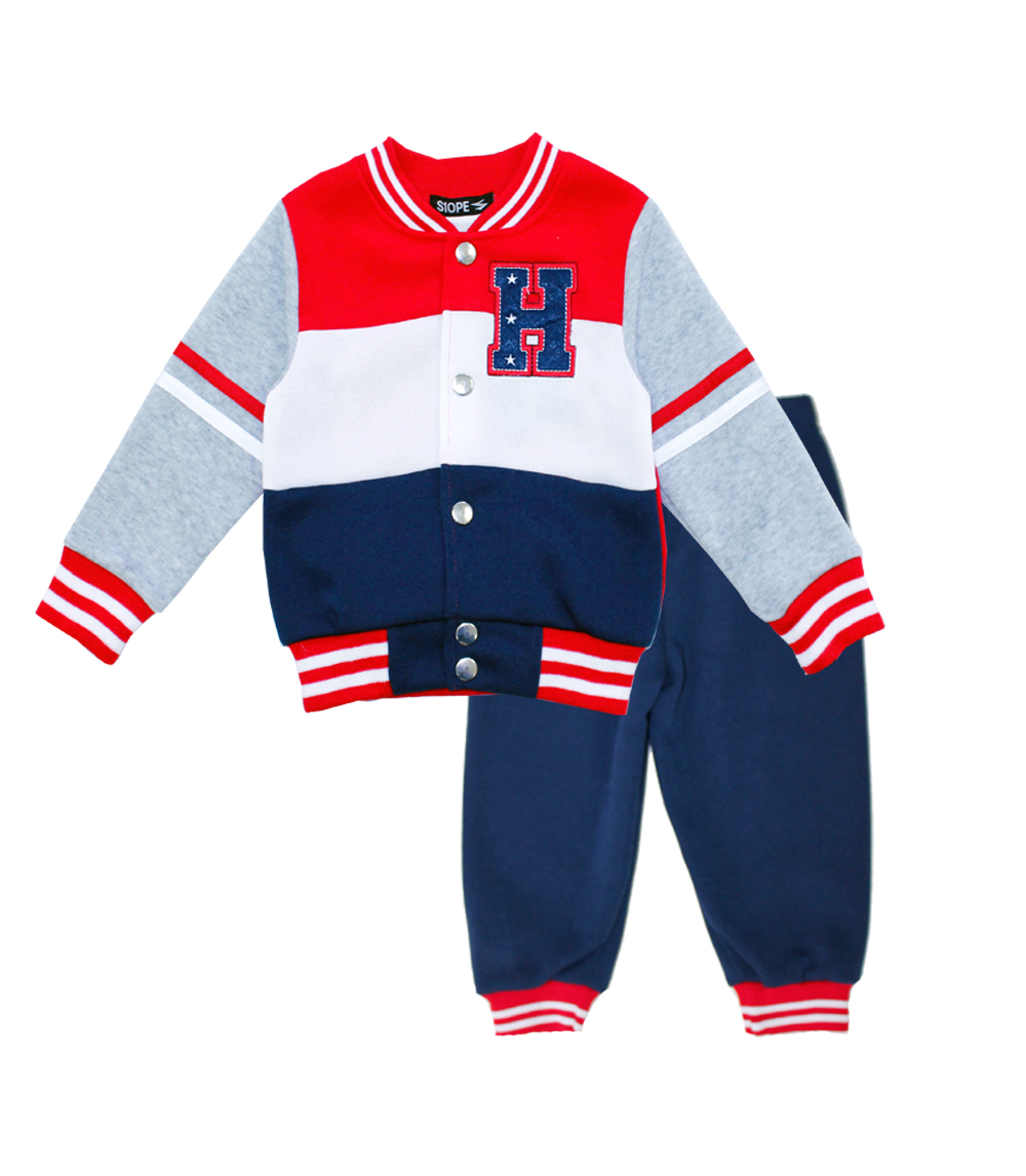 S1OPE Toddler 2 Pc Zip Up Varsity Jacket And Pant Set
