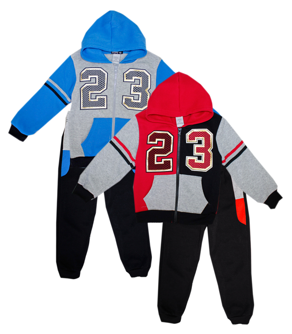 S1OPE Toddler Zip Front 23 Foil Print Fleece Set