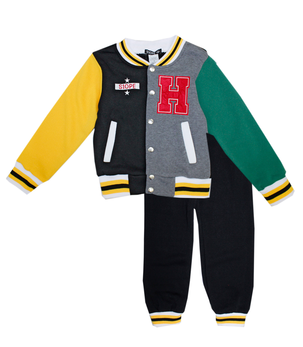 S1OPE Infant 2 pc Snap Front Varsity Jacket and Pant Set