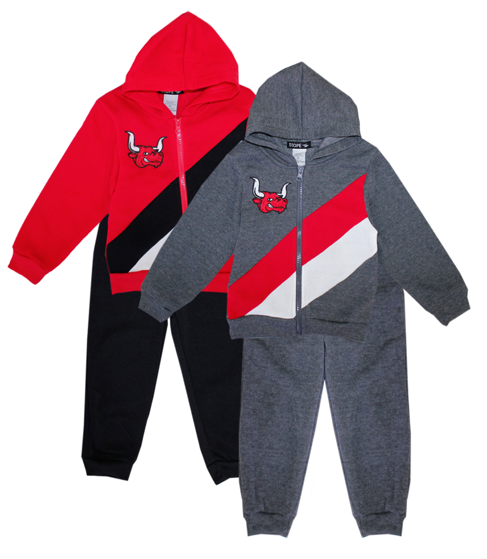 S1OPE Infant Zip Front Bull Applique Fleece Set