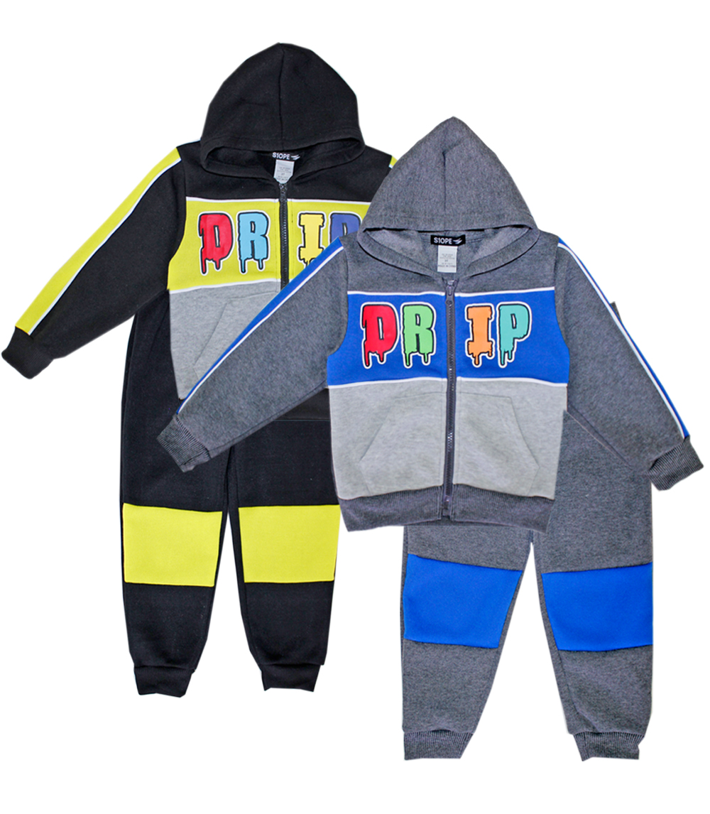 S1OPE Toddler Zip Up Drip Fleece Set w Strapping