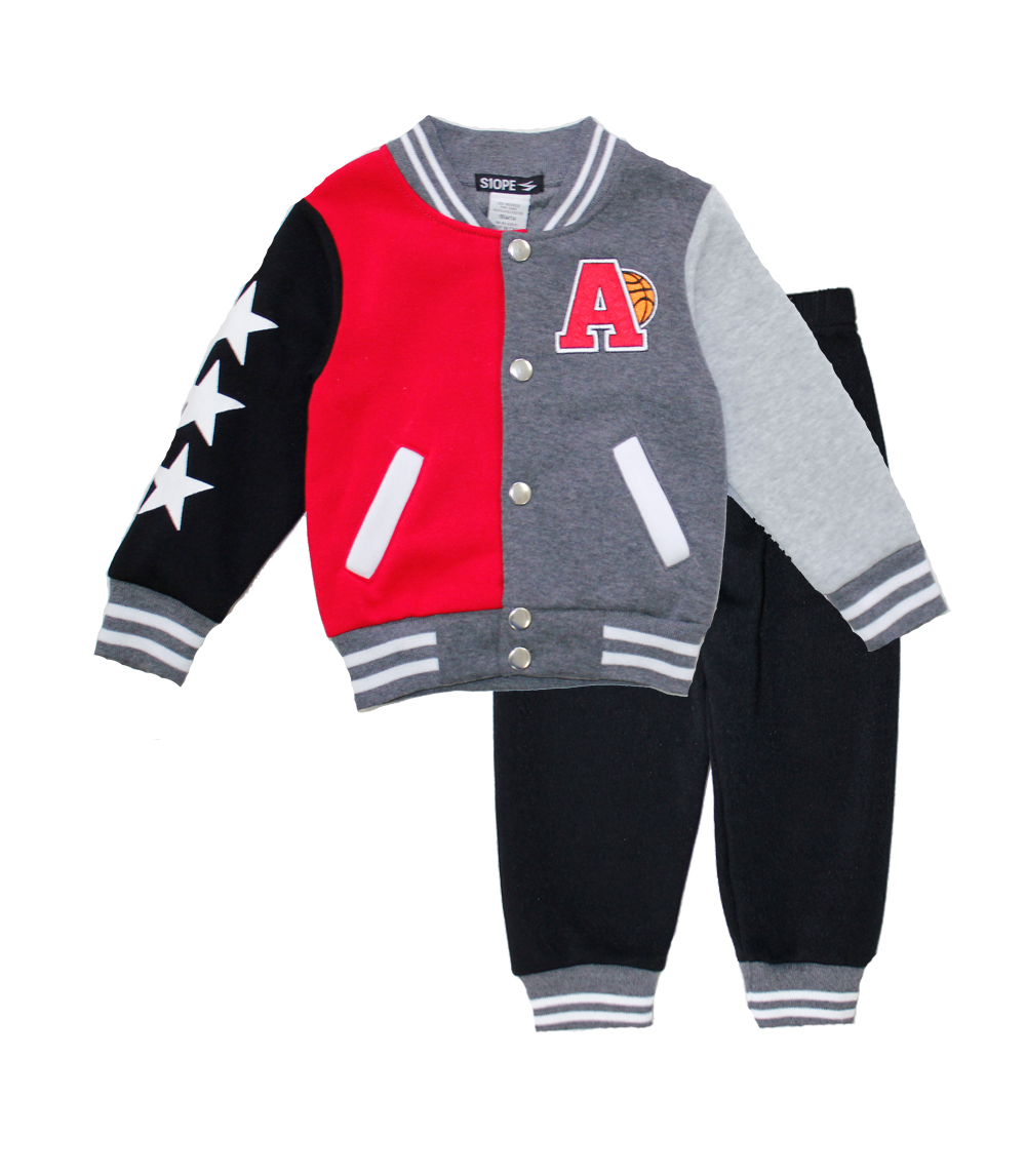 S1OPE Toddler Boys Jacket w Rib on Neck Jogger Set