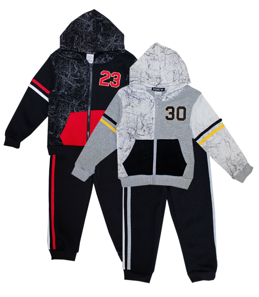S1OPE Infant Zip Up 23 on Marble Print Fleece Set