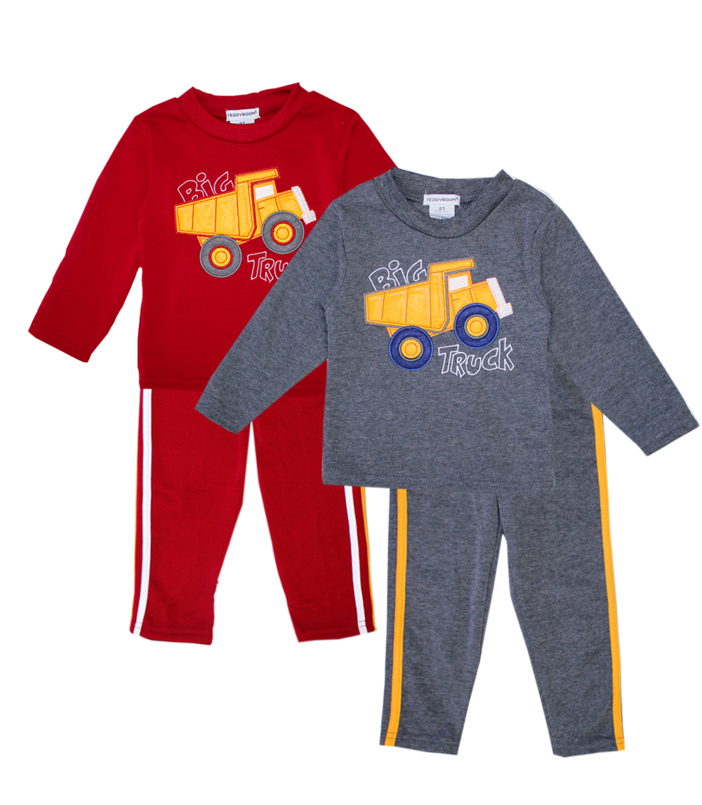 TEDDY BOOM Infant Big Truck 2 pc Crew Neck Fleece