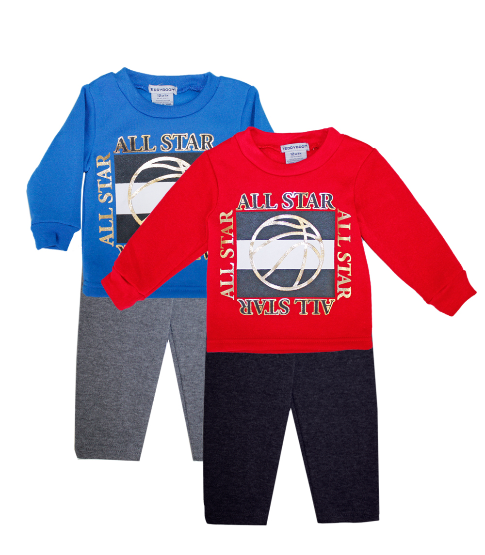 TEDDY BOOM Toddler 2 Pc Crew Neck All Star Fleece Set