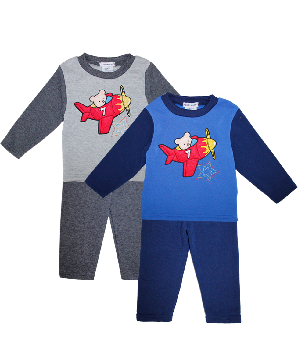 TEDDY BOOM Newborn Ariplane 2 pc Crew Neck Fleece