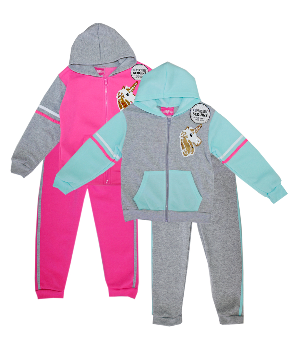 GIRLS PINK Toddler Unicorn Flip Sequin 2 Pc Zip Front Hoodie Set