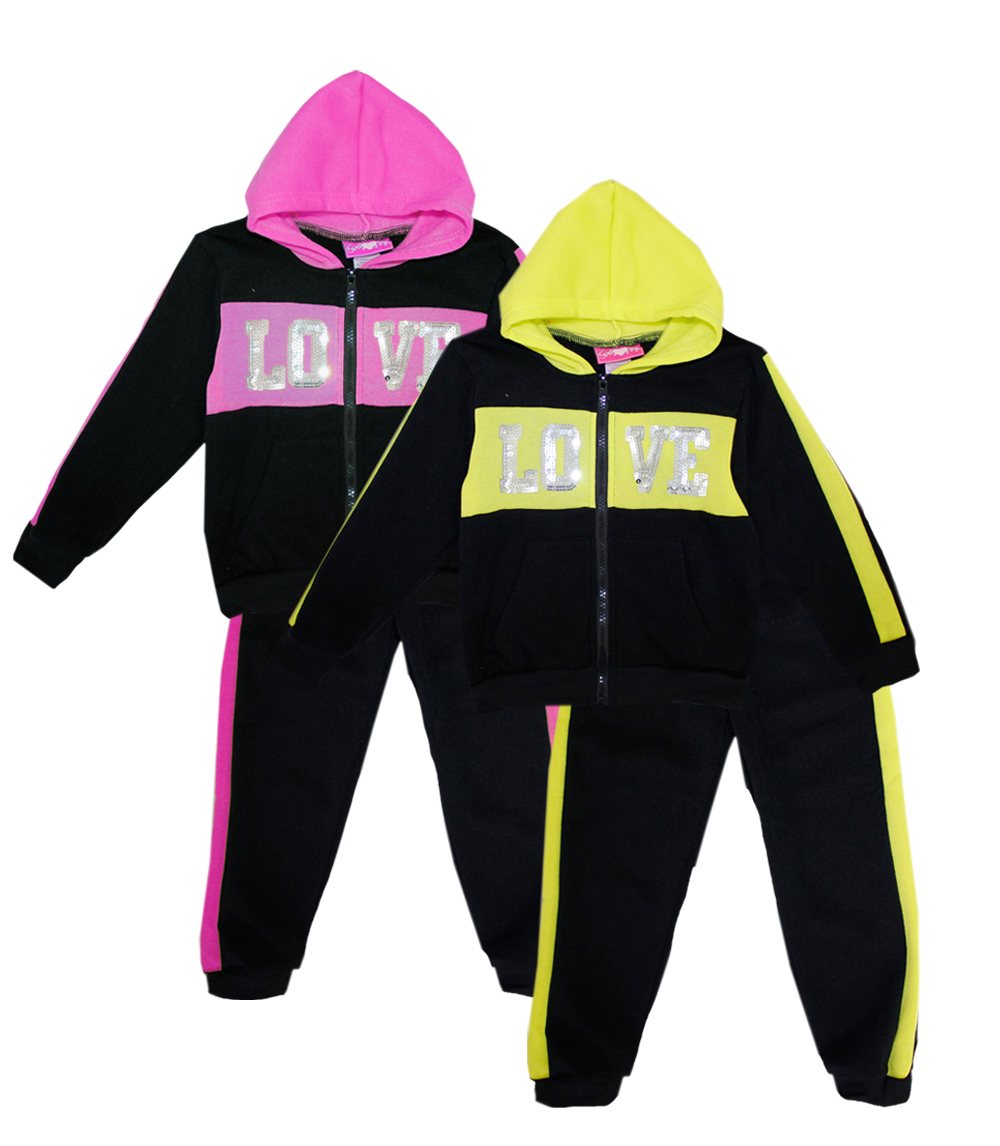 GIRLS PINK 4-6X Love w Sequins Hoodie Set