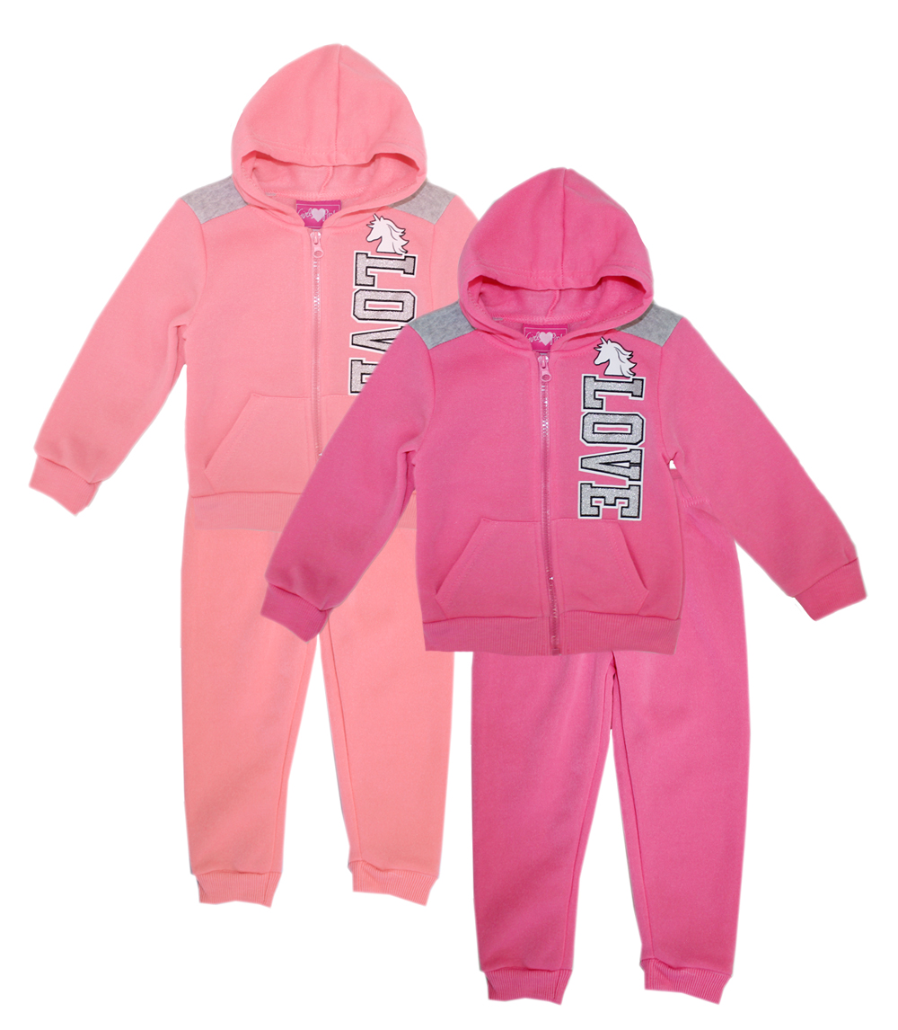 GIRLS LUV PINK Toddler Girls Zip Front Fleece Hoodie Set