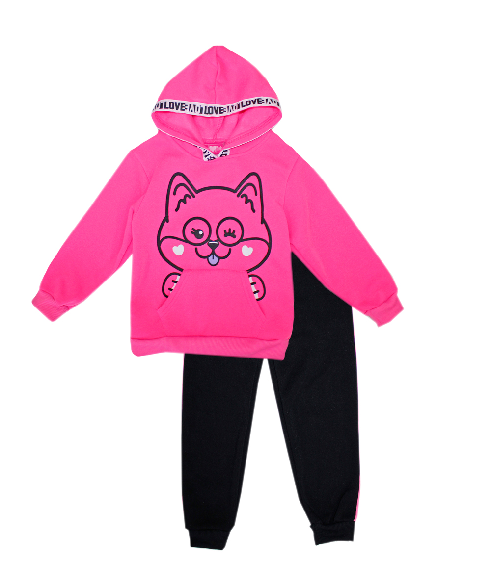 GIRLS PINK Toddler Kangaroo Pocket Hoodie Set