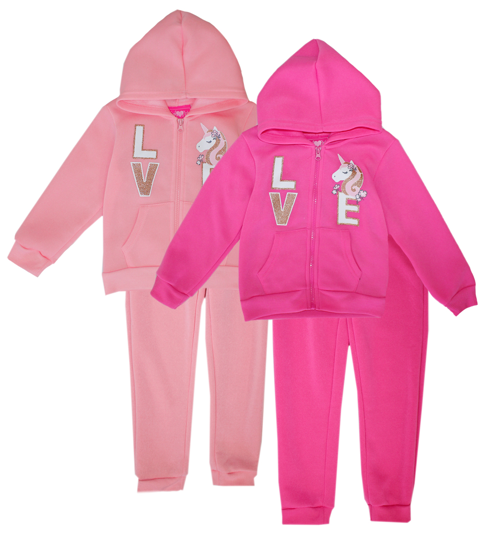 GIRLS PINK 7-12 Love Zip Front Jogger Set
