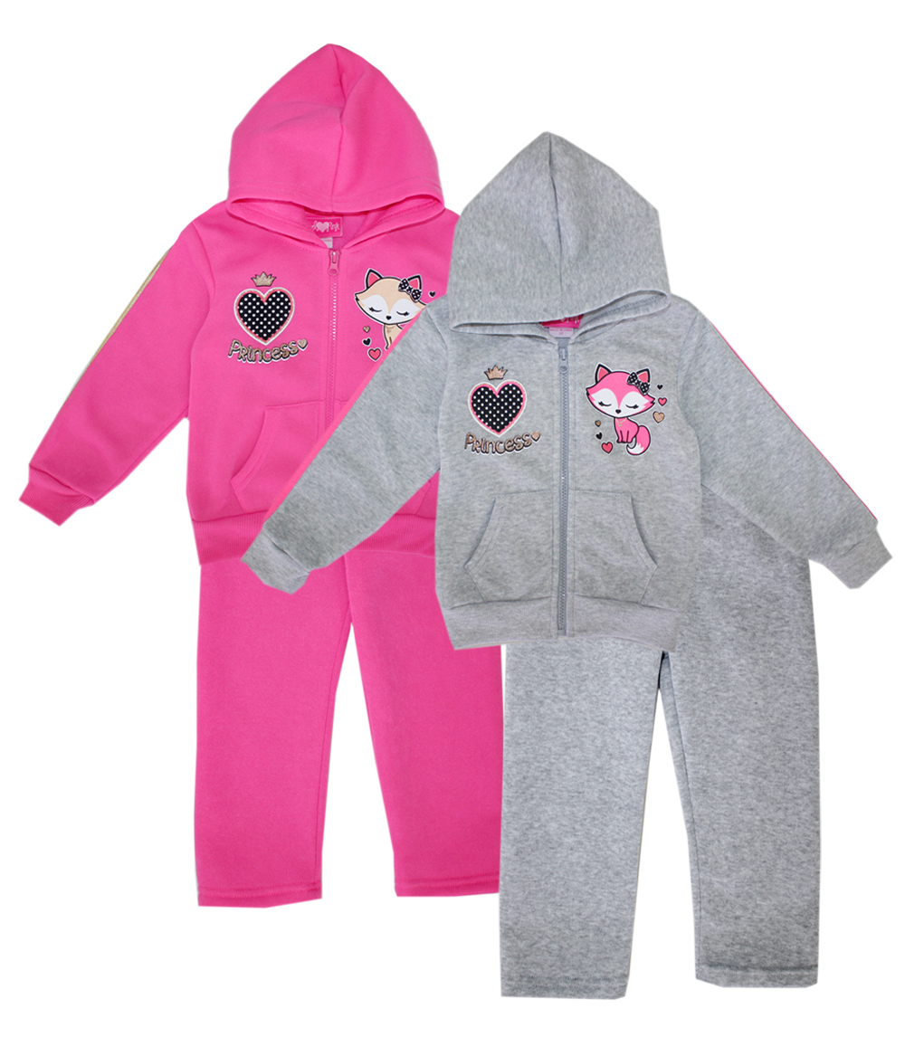GIRLS PINK Toddler Zip Front Fleece Hoodie Set