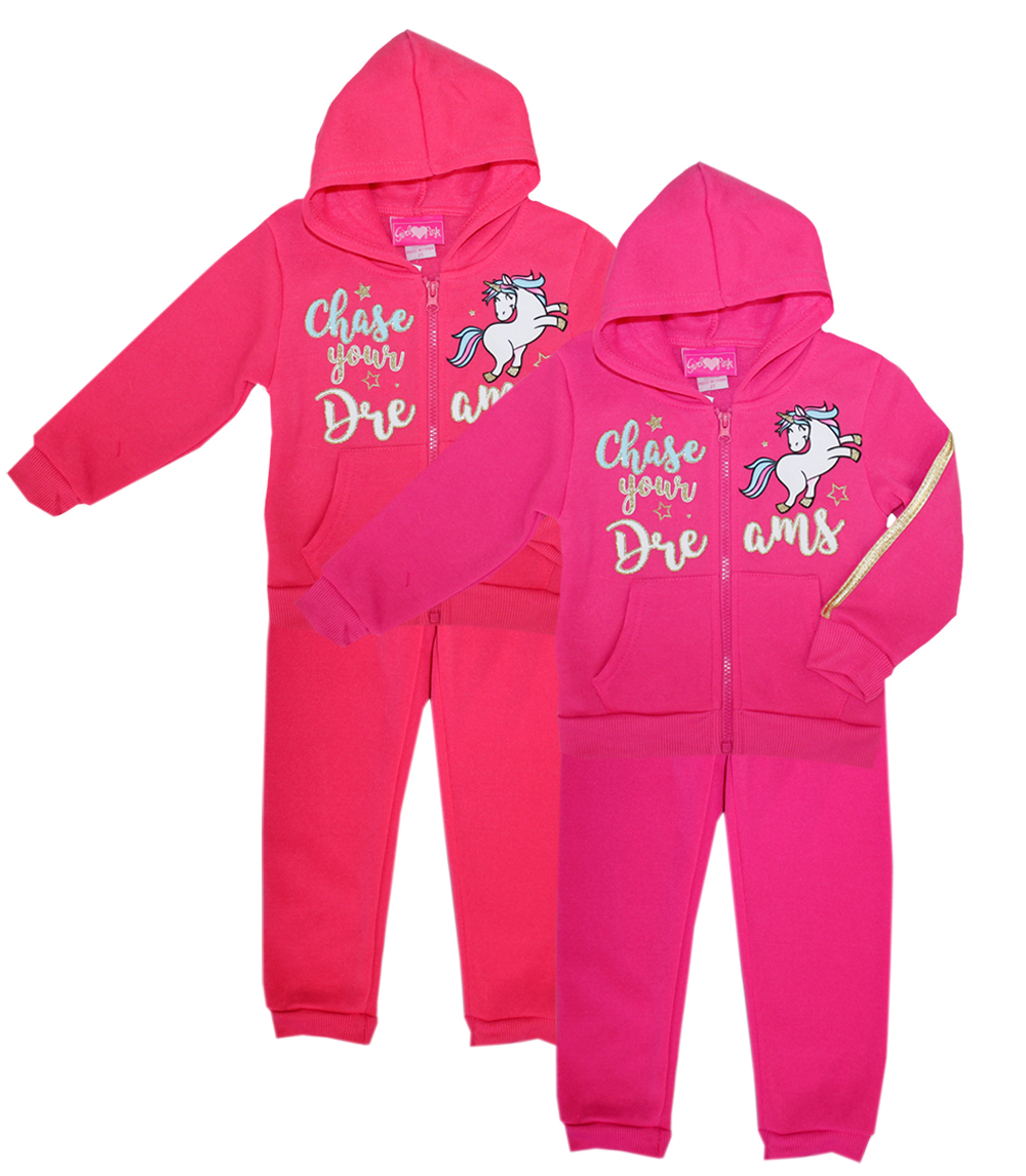 GIRLS LUV PINK Toddler Chase Your Dreams Zip Front 2 PC Set