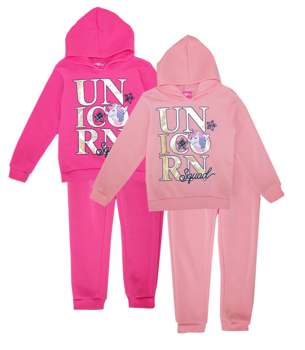 GIRLS PINK Toddler Unicorn Squad Hooded Jogset
