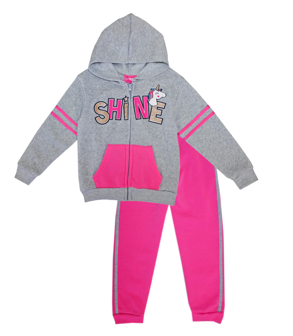 GIRLS PINK 4-6X Shine Screen Zip Front Hoodie Set