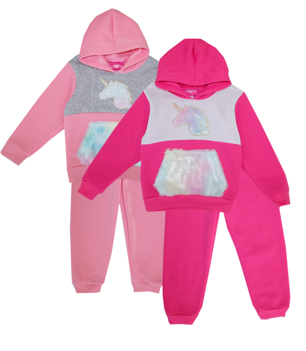 GIRLS PINK Toddler Unicorn Hooded Jogger Set