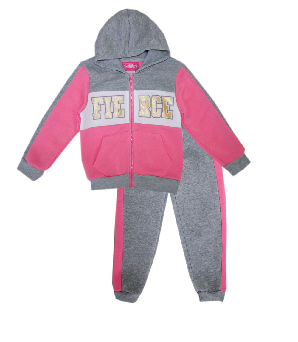 GIRLS PINK Toddler Fierce Screen Zip Front Hoodie Set