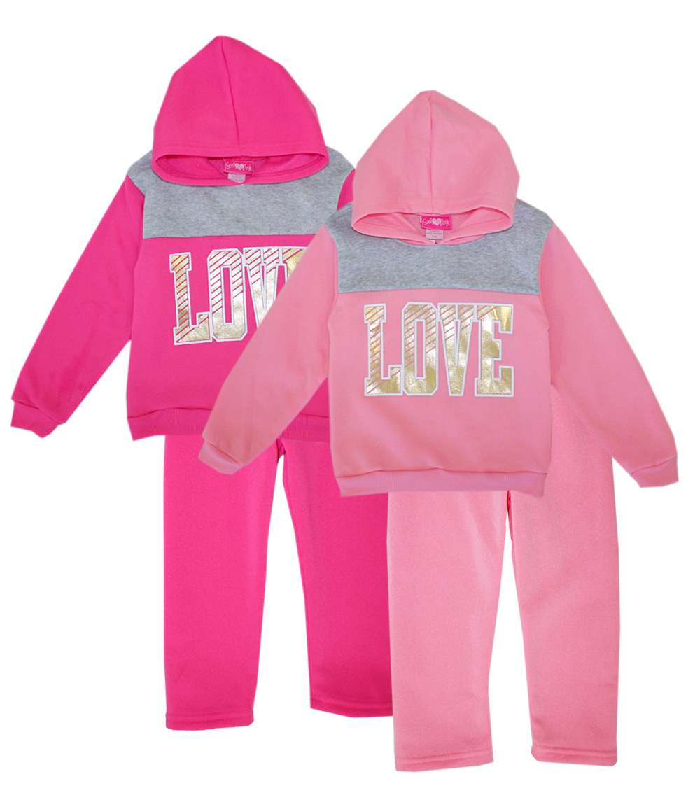 GIRLS PINK 4-6X Love Hooded Jogger Set