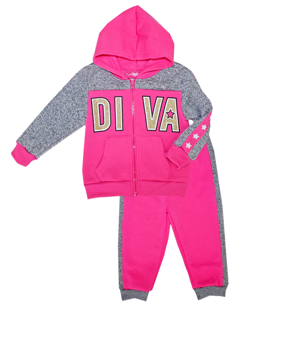 GIRLS PINK 7-16 Diva Zip Front Fleece Hoodie Set