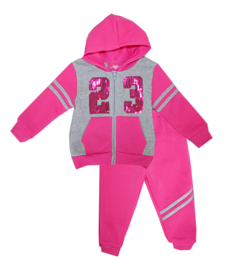 GIRLS PINK Toddler 23 Sequins Zip Front Hoodie Set