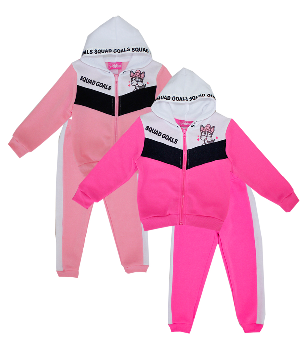 GIRLS LUV PINK 4-6X Girls Zip Front Fleece Hoodie Set