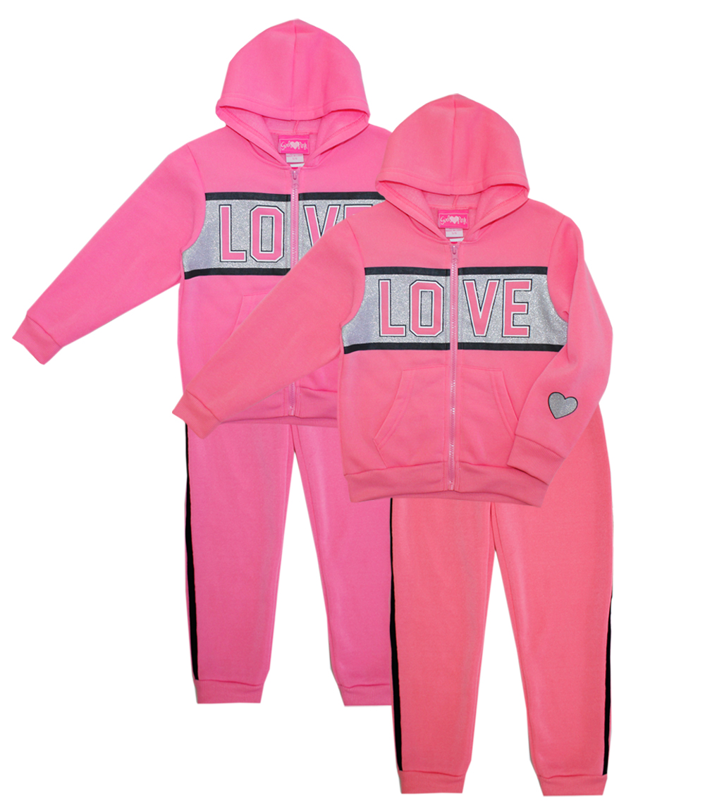 GIRLS PINK 7-16 Girls Love Zip Front Hoodie Set