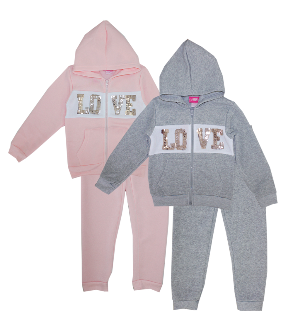 GIRLS PINK Toddler Love Zip Front Jogger Set