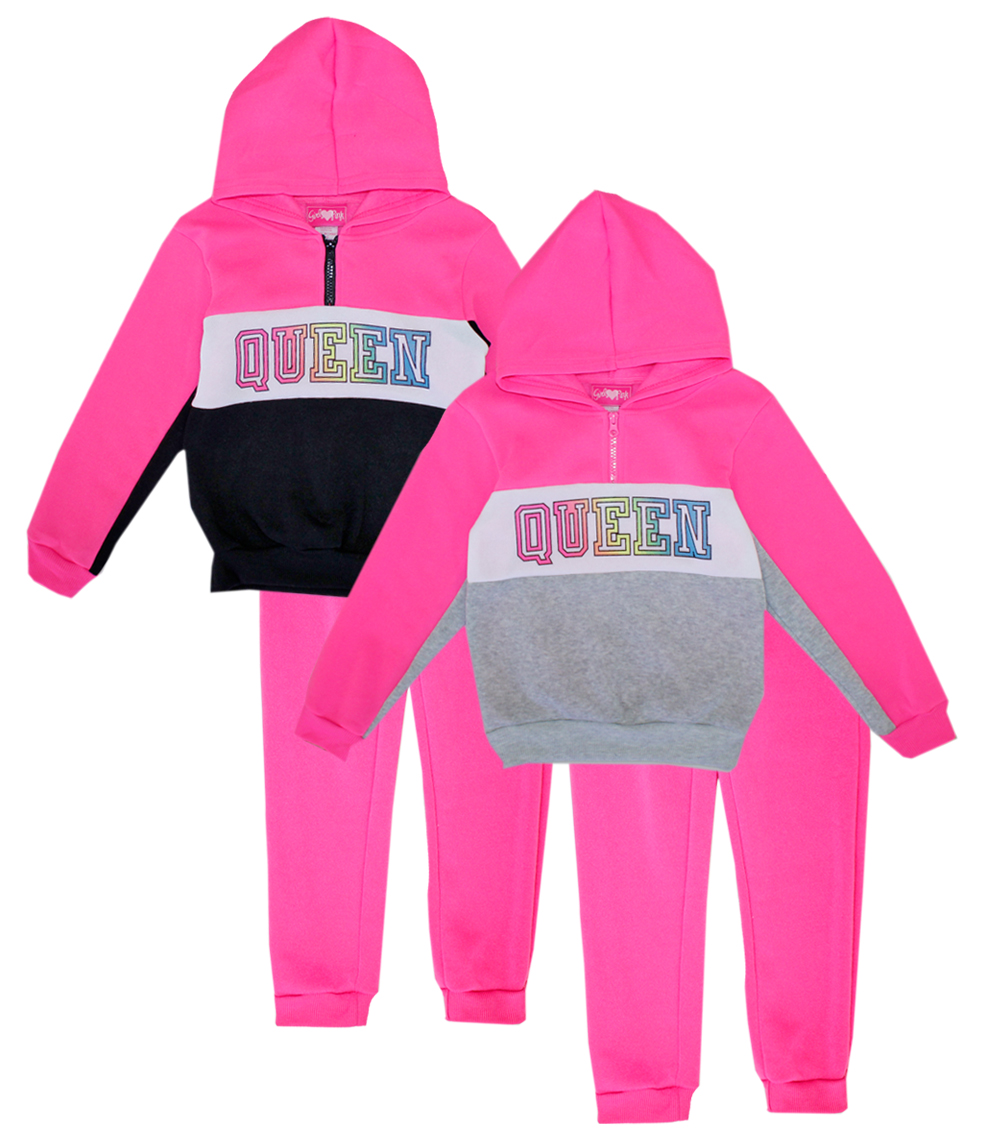 GIRLS PINK Toddler Half Zip Front Jogset