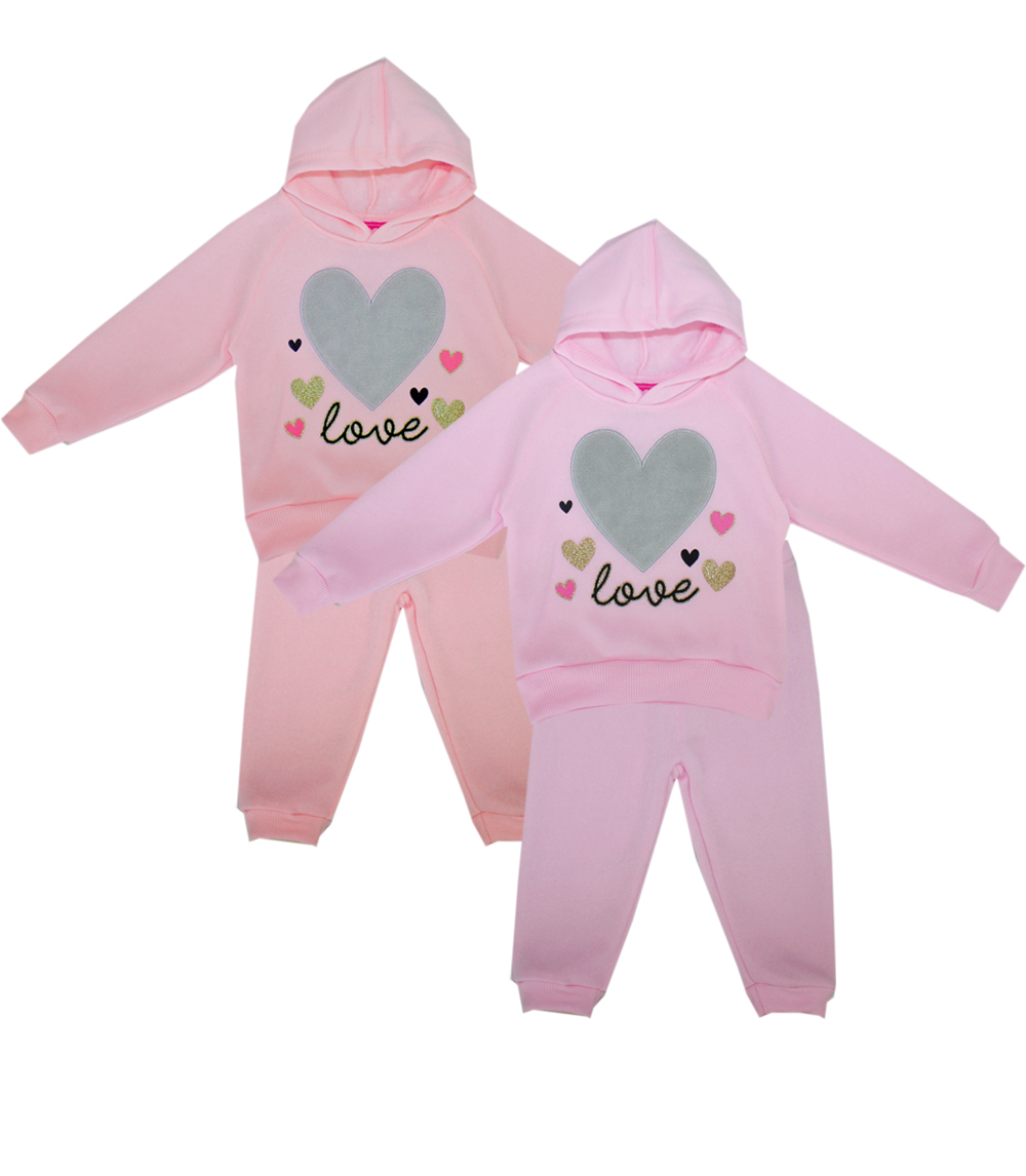 GIRLS PINK Infant Fur Heart Applique 2 Pc Fleece Set