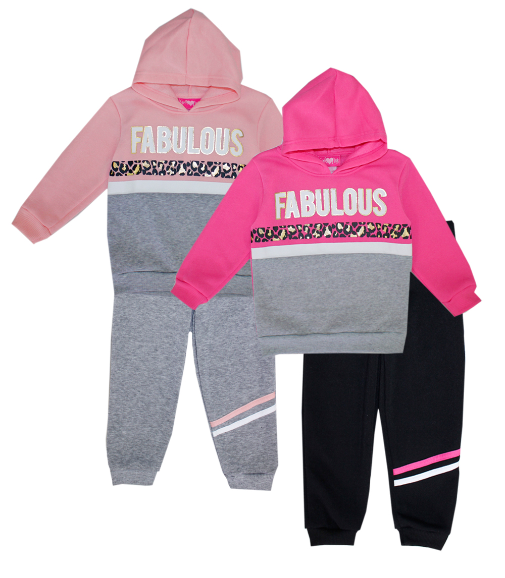 GIRLS LUV PINK 4-6X Girls Fleece Hoodie Set