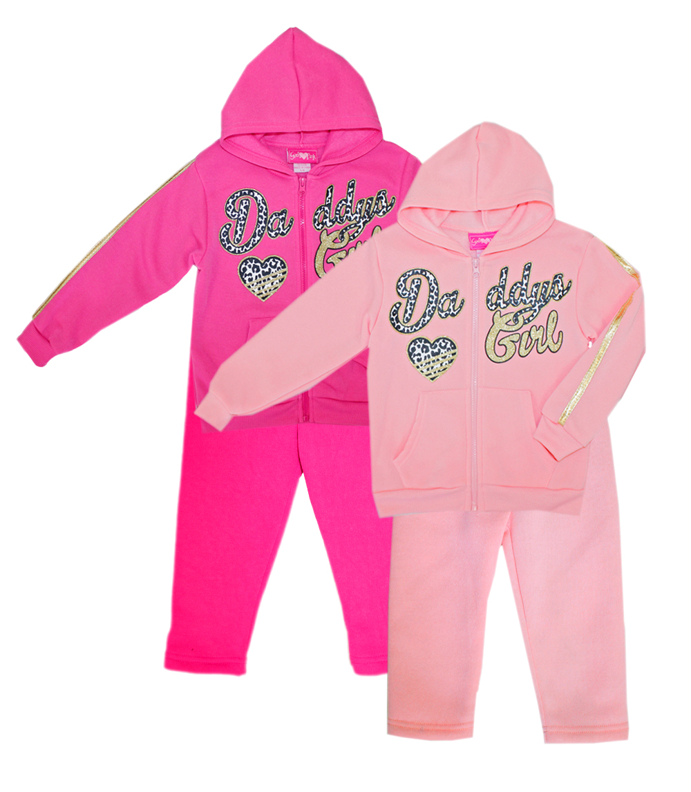 GIRLS PINK Infant Daddys Girl Zip Front Hoodie Set