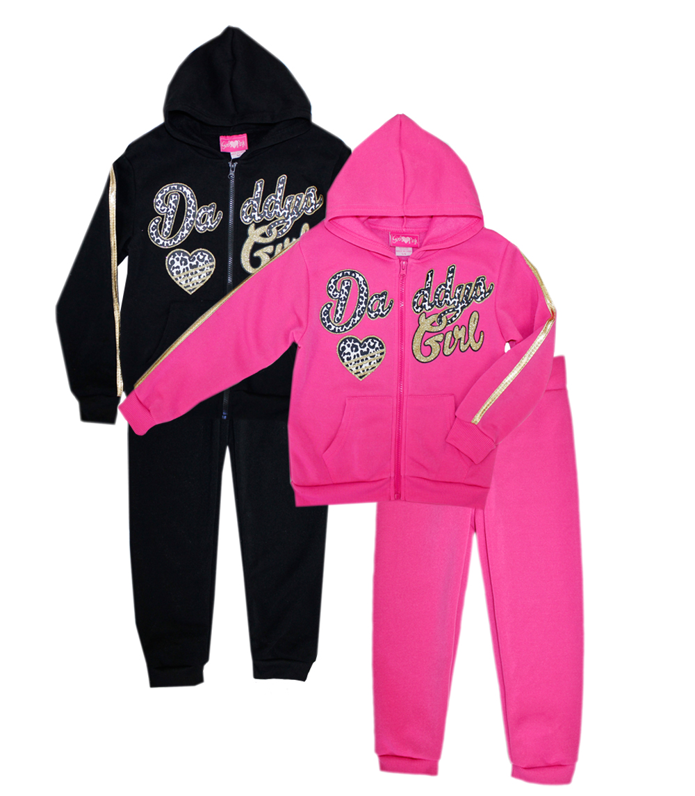 GIRLS PINK 7-16 Daddys Girl Zip Front Hoodie Set