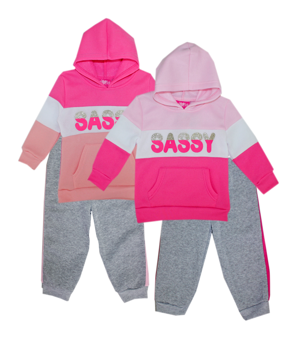 GIRLS LUV PINK Toddler Sassy Fleece Hoodie Set