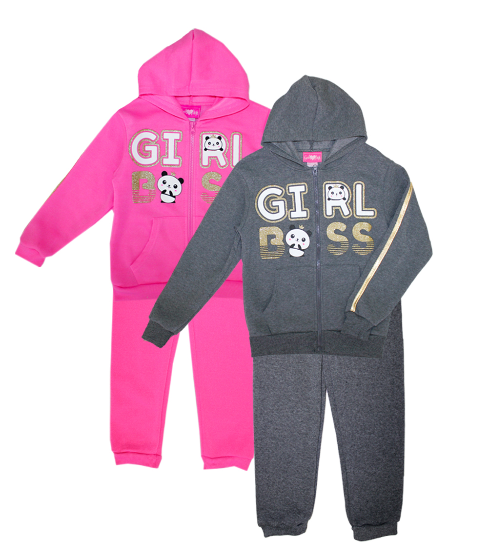 GIRLS LUV PINK 7-16 Girl Boss 2 Pc Zip Front Set