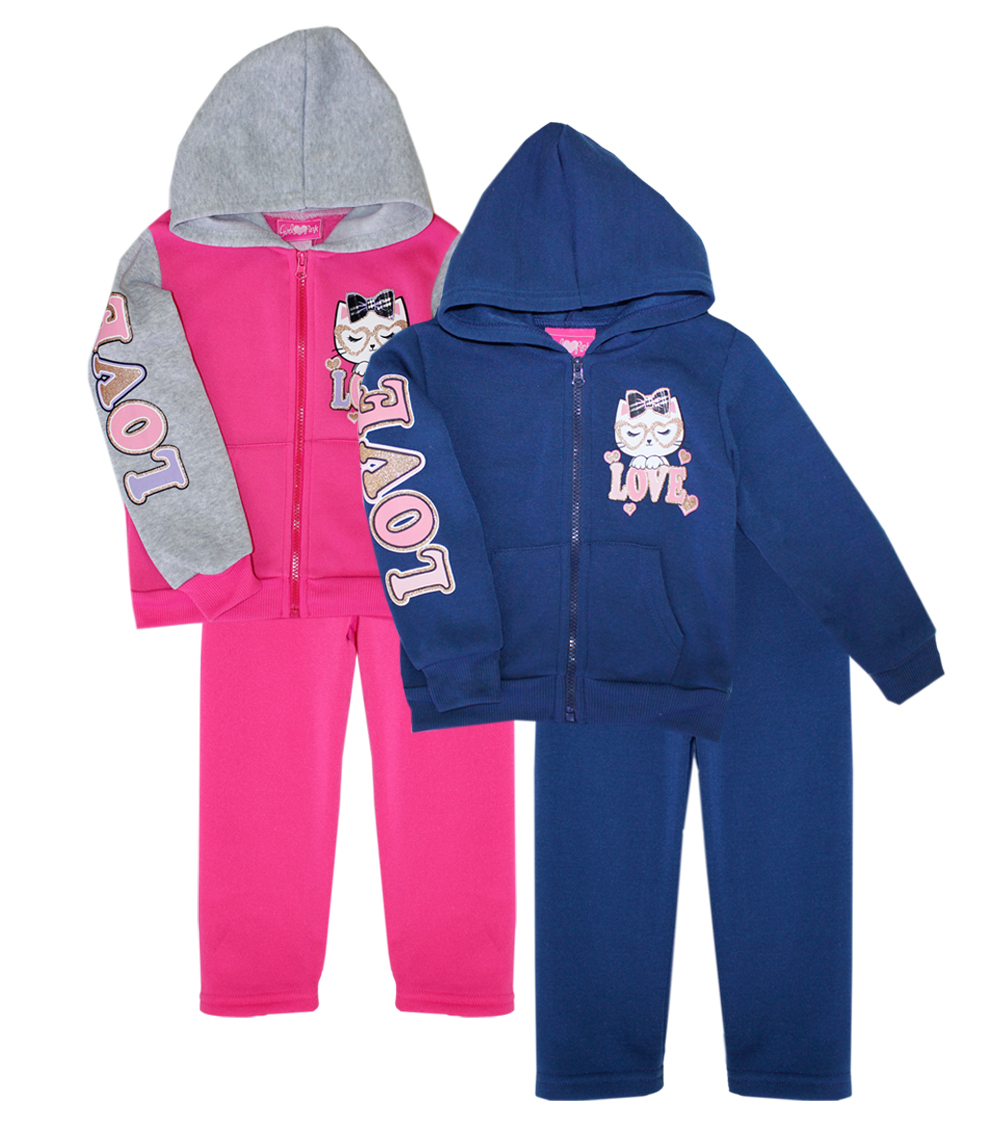 GIRLS PINK Toddler Love Zip Front Pant Set