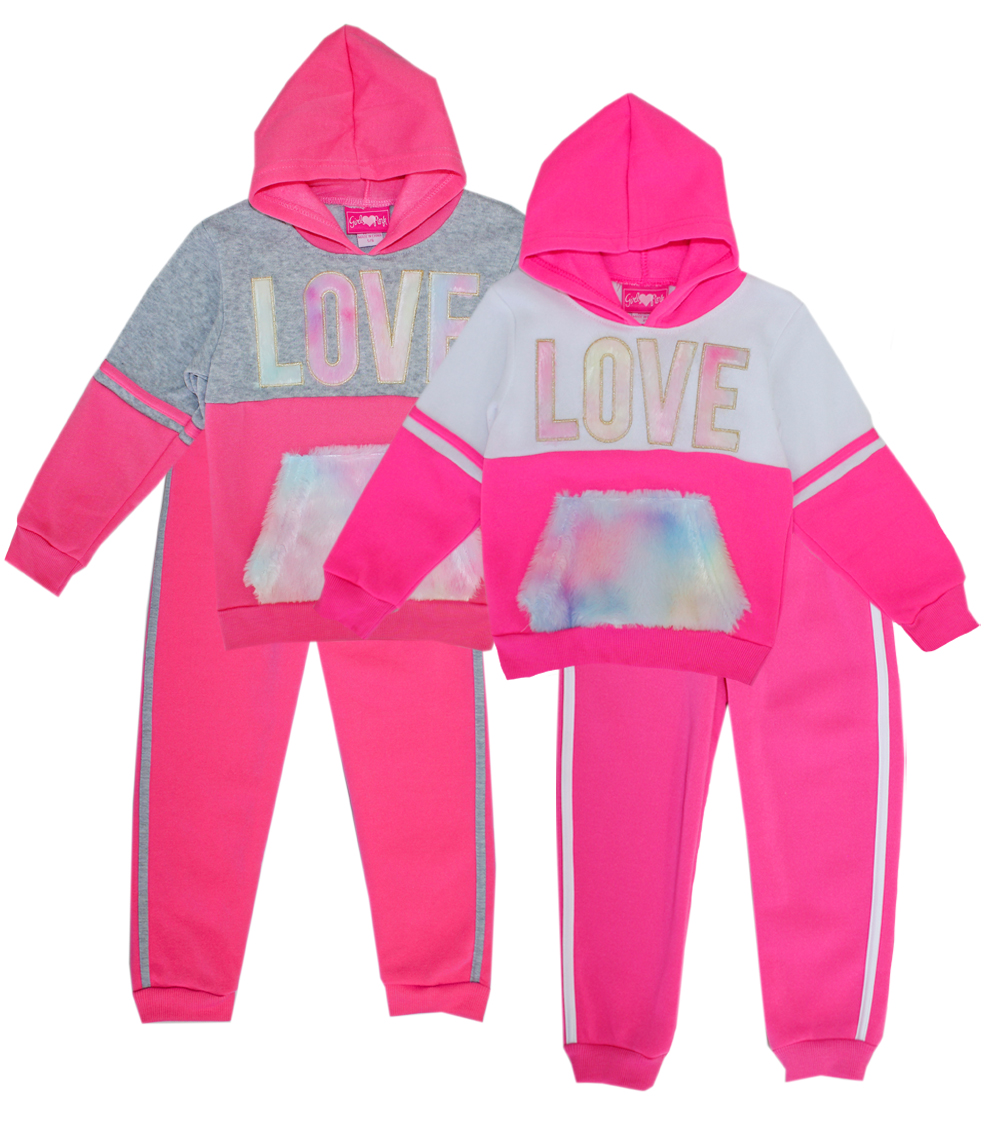 GIRLS PINK 7-12 Love Hooded Jogger Set