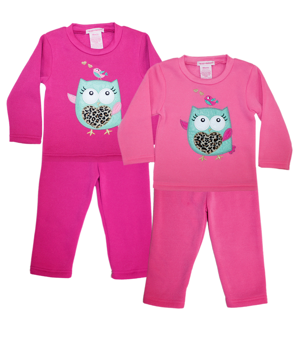 TEDDY BOOM Newborn Owl Crew Neck Fleece Jogsets