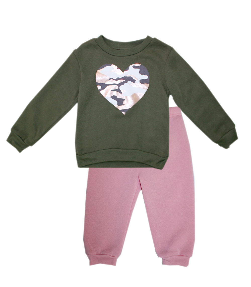 Fleece Top w Camo Rose Foil Screen and Jogger