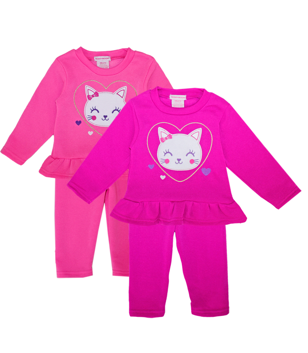 TEDDY BOOM Toddler Cat Heart Crew Neck Fleece